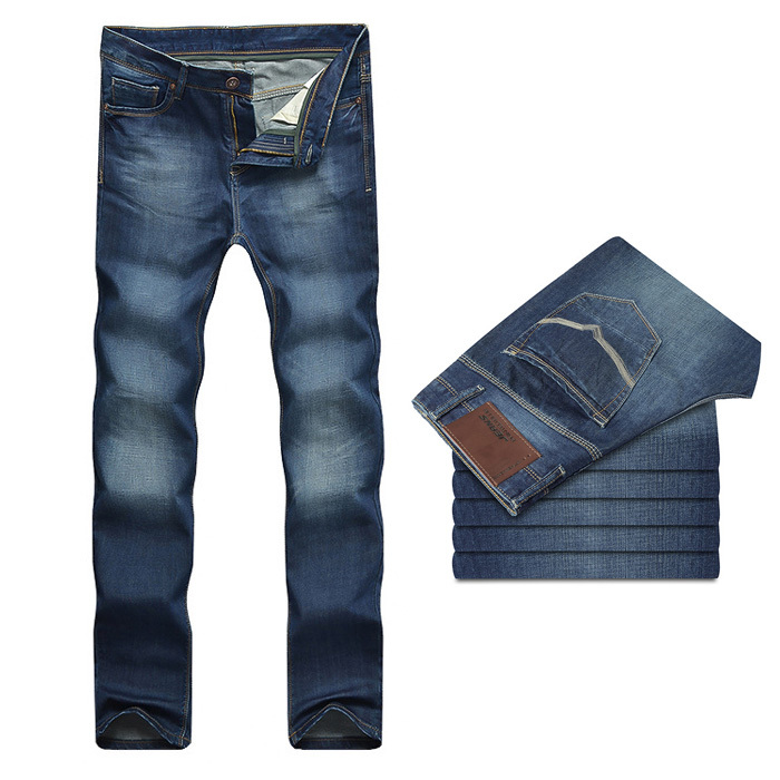 summer style mid waist cotton long regular straight solid blue denim 2015 mens fashion jeans men pants size 28 - 38 nzk43