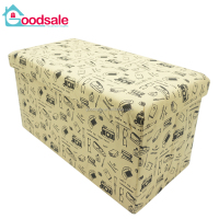 Foldable non-woven printing storage stool ottoman bench with padded seat