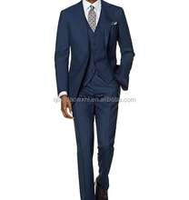 2017 MTM Latest Style Striped Custom Made Slim Fit Blue Suit Pant Coat