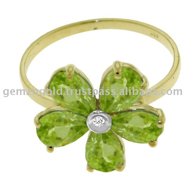 14K. SOLID GOLD RING WITH NATURAL PERIDOTS AND DIAMOND ACCENT