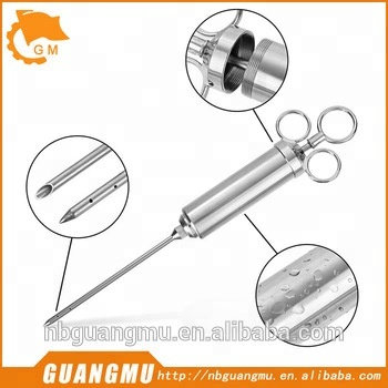 4oz Mince and Liquid Marinade Food Injector Brine Meat Injector Full Stainless Steel Meat Injector