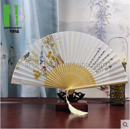 Japanese style paper bamboo gift fan