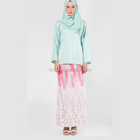 Hot-selling Islamic clothing Ladies Muslim Fashion Printed Satin Baju Kurung Modern