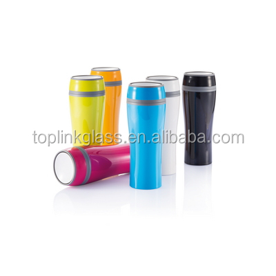Inside&Outside Plastic Stainless Steel Thermal Mug Travel Thermal Mug open/close by finger bottom thermos mug