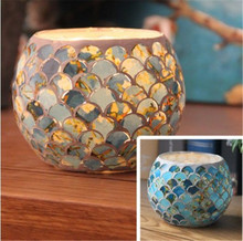 Glass Candle Mosaic Pattern Tea Light Holders