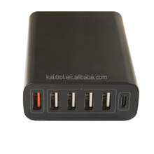 Newest 5V 3A charger Type C adapter USB 3.1 hub, QC3.0 6 port desktop charging hub