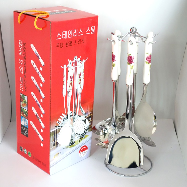Novelty cute porcelain tableware set stainless steel ceramic handle kitchenware