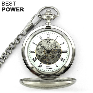 Custom Logo Pocket Watch Roman Numerals Dial Mechanical Stainless Steel Skeleton Pocket Watches With Chain