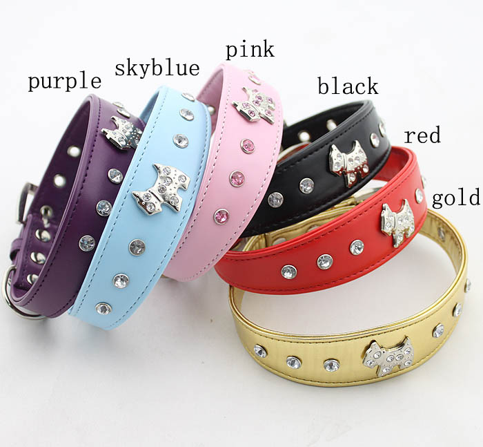 Pet supply Double leather collar Rhinestones Dog Collar Pet Products crystal