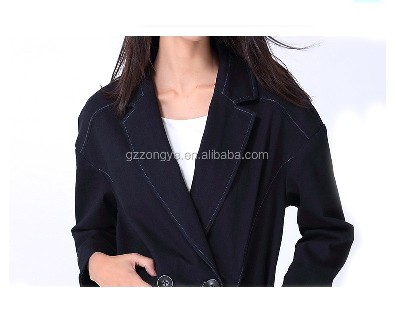 2016 fashion europe women's suit collar jacket pure color cowboy trench coat