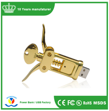 Gold bottle Opener Metal USB Flash Drive/Corkscrew USB Pen Drive/Screwdriver USB Memory Stick for Promotional Gift