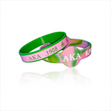 "Pink color "" ALPHA KAPPA ALPHA debossed color filled in silicone wristband / Fashion style AKA silicone bracelet"