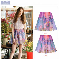 ladies bubble skirt 2017 summer fashion cute cartoon printing skirts women high waist beautiful chiffon grenadine mini skirt