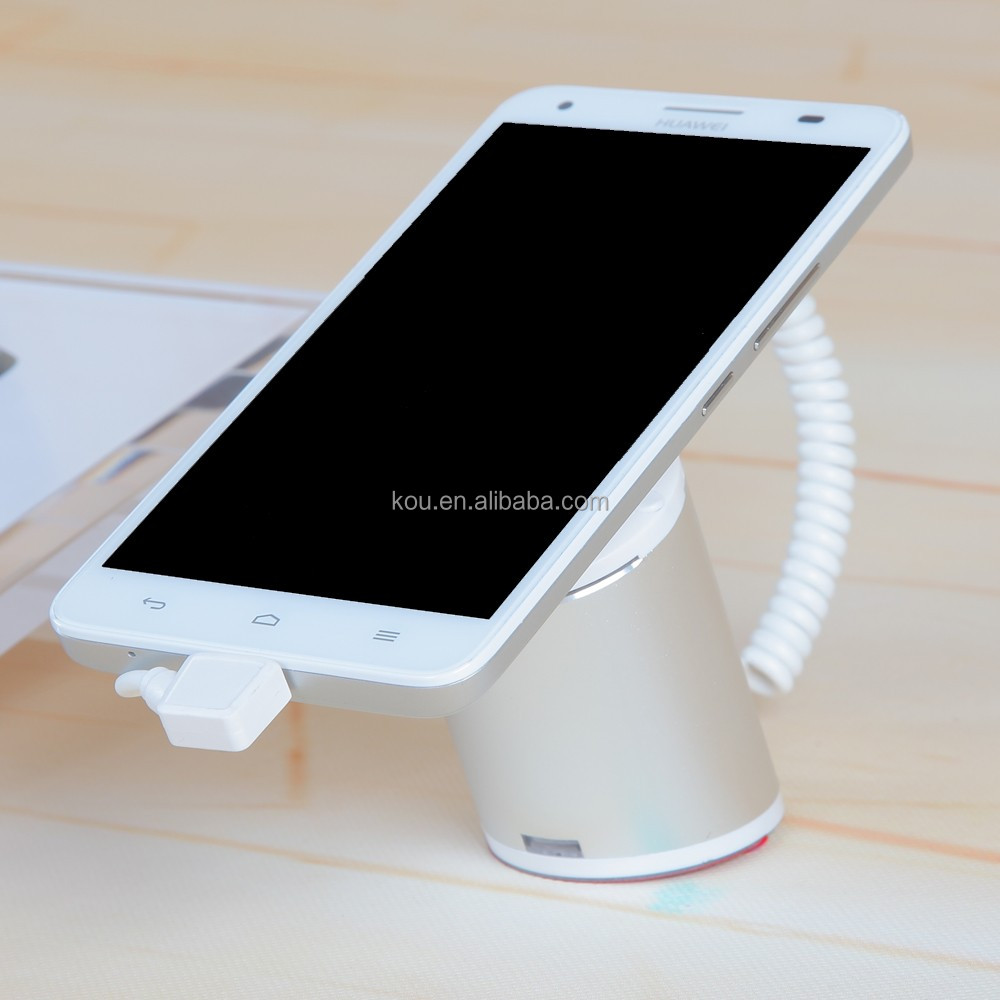 china manufacturer security alarm mobile phone display stand / holder for android smart phone stand with charging silver