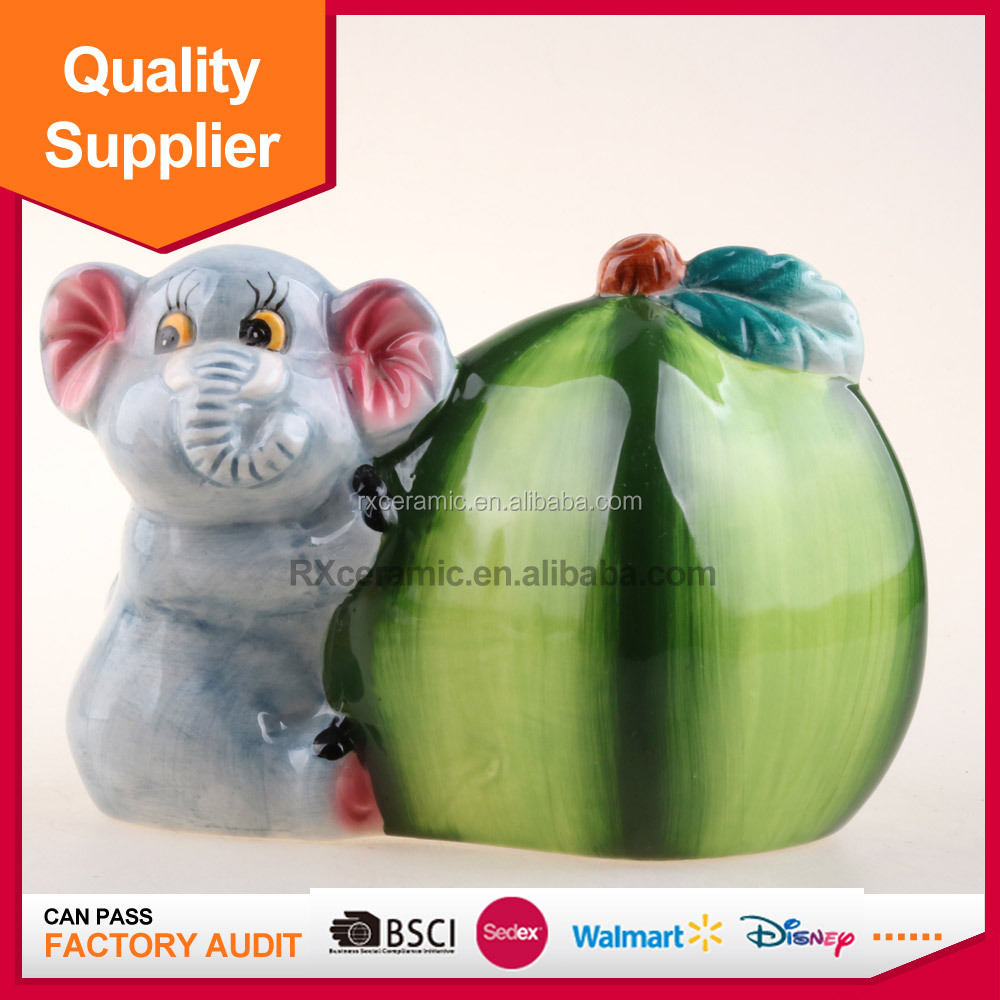 Children toys elephant and apple ceramic porcelain money box for sale