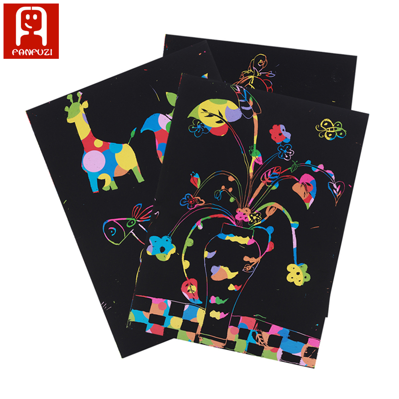 Non-toxic handmade DIY picture scratch art paper A4 paint by kids