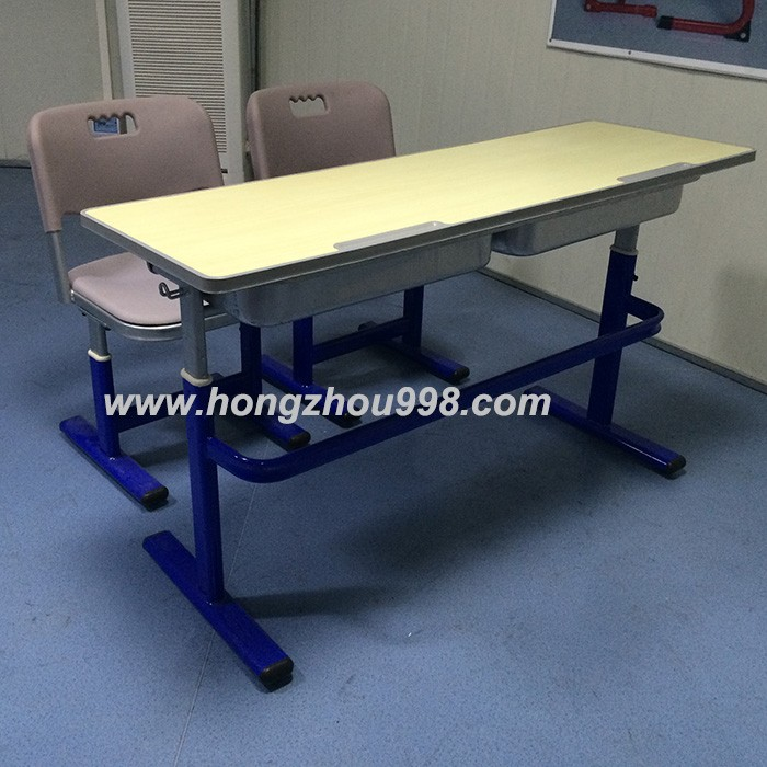 Two Seater Wooden School Furniture Desk and Chair