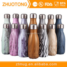 Stainless steel cola shape wooden grain pattern insulated outdoor water bottle