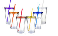 Double wall plastic Removable insert paper tumbler with lid and straw