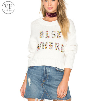 Custom white long sleeve beading sweater designs for ladies