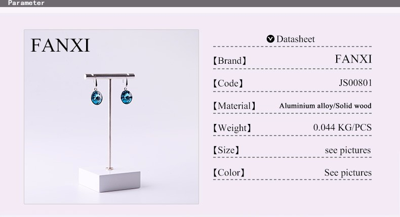 FANXI Fashion Custom Shop Countertop Organizer Jewelry Display Rack White Lacquered Wood Stand Chrome Metal Earrings Holder