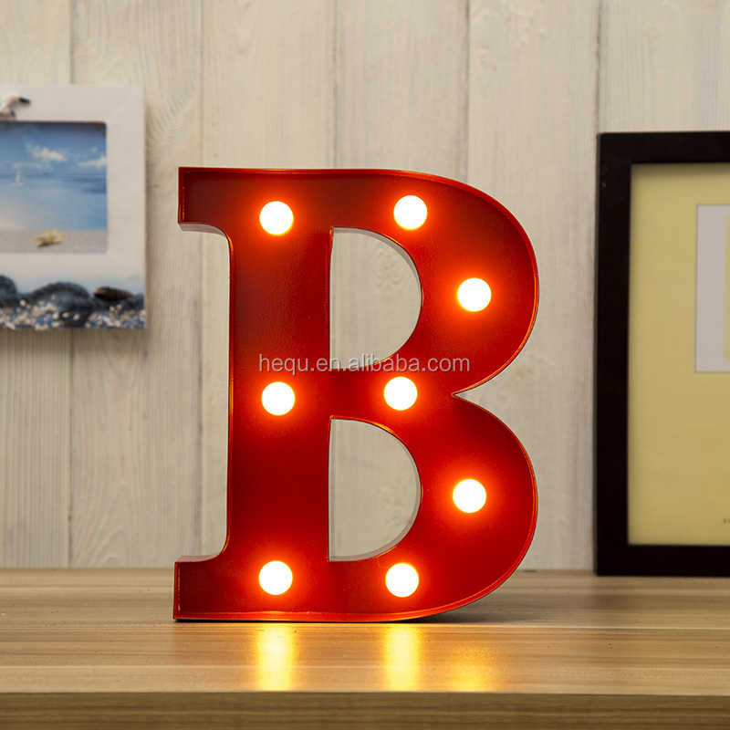 New Metal Wholesale Festival Decoration Bright Battery powered Marquee Letters Led Light