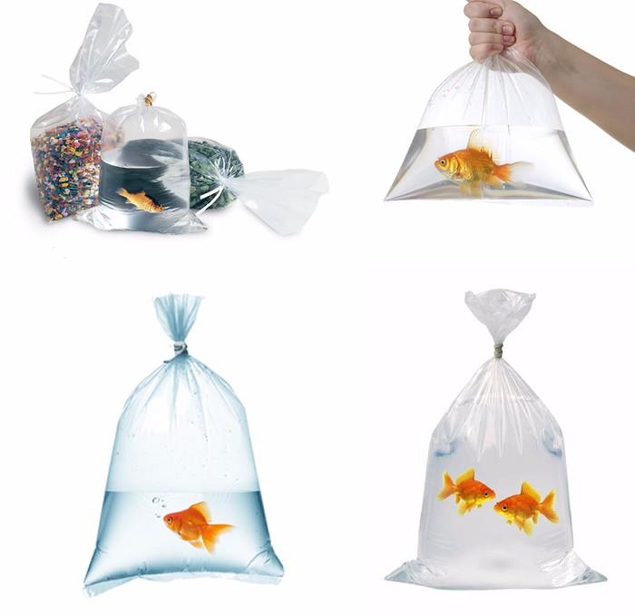 Leak Proof Fish Transport Square Bottom Plastic Clear Bag