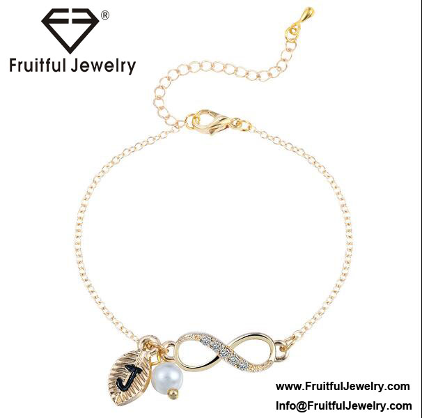 Beautiful gift for girls leaves Initial J pearl pendant number 8 chain alloy bracelet bulk buy from china gold energy bracelet