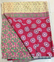 Beautiful Floral prints cotton quilts Vintage Kantha quilt reversible sari quilt gudri ralli throw blanket