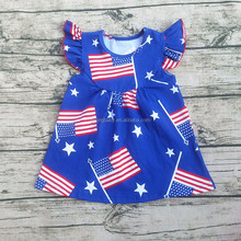 Yiying 2017Newest White Blue Stars Patriotic Flutter Sleeve Dress 4th Of July Dress Patriotic Pearl Dress