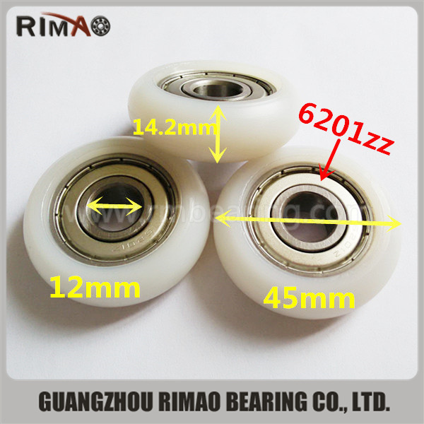 6201zz round nylon ball bearing roller wheels.jpg