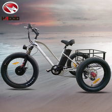 Hot sale 500w fat tyre three wheel electric bike adult beach tricycle