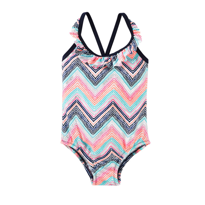 fringe striped sublimated printed one piece young girls in thong bikini kids swim wear