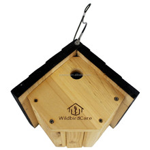 new unfinished rope hanging dismounting assemble natural wildbird care pull-out cedar wooden bird house wholesale