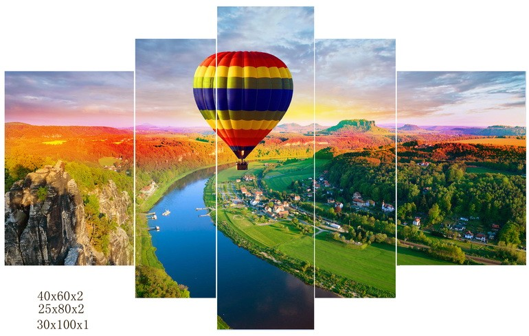 fire balloon group scenery canvas prints for wall decoration