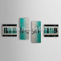 100% Hand-painted Modern abstract Green Painting on canvas wall art picture - 4 panel wall art