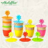 Biodegradable Creative Mug with Silicone Flower Lid and Sleeve for Heat Protection
