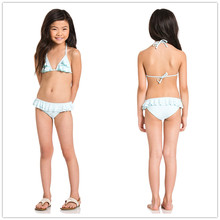 Wholesale 2016 girls bikini set cute kids solid color halter swimwear with frill