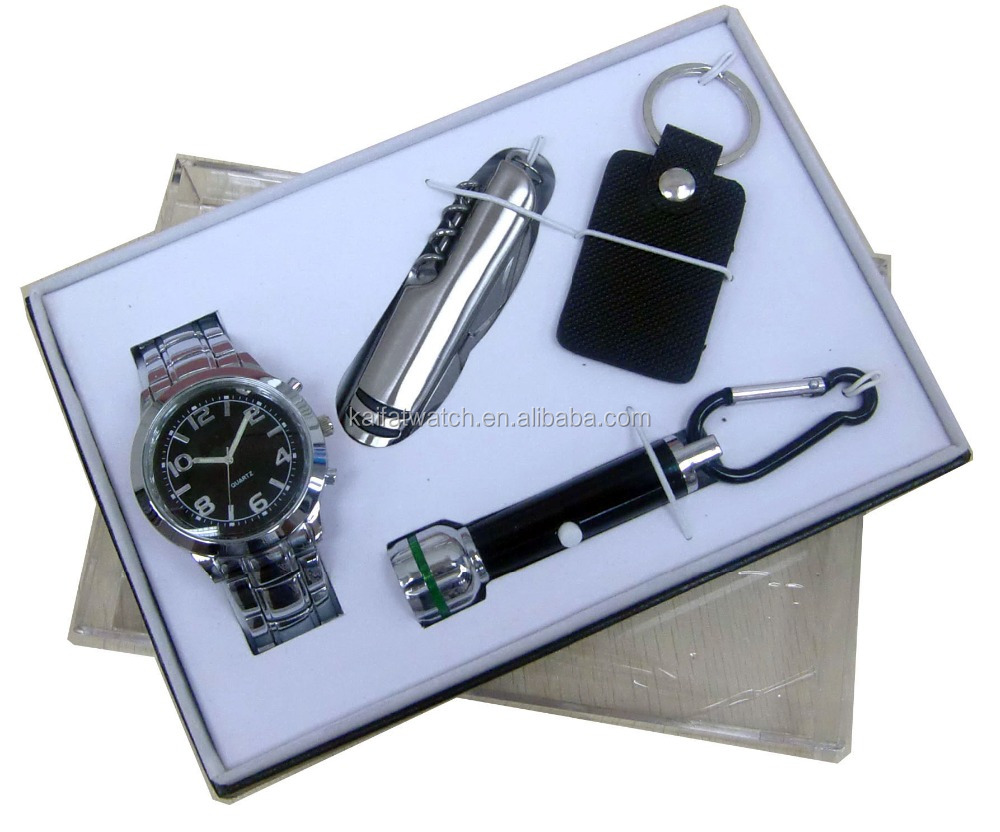 men knife watch gift set luxury charm keychain and knife gift watches sets