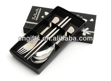 hot sell stainless steel spoon fork and chopsticks set of 3pcs tableware wedding table gifts