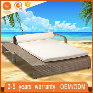 Luxurious Large PE Rattan Outdoor Beach Furniture Slumber Double Sun Lounger Bed