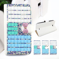 Luxury wallet style diamond crystal bling bling leather case for HTC DESIRE 200