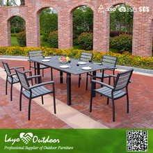 LY Customized Factory european style sofa restaurant ps wooden garden dining table patio furniture all weather