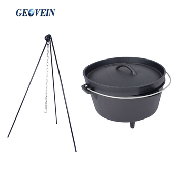 6QT Camping Cast Iron Dutch Oven With Campfire Tripod and Lid Lifter