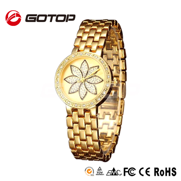 Jewelry gold plated alloy case omax style quartz watch stainless steel