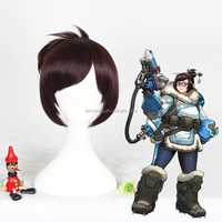 Overwatch Mei 30cm Short Red Brown Cosplay Wig Costume Halloween Hair Synthetic Anime Wig