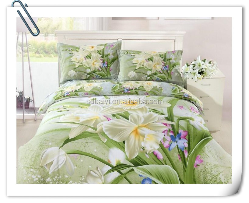 3d printed big flowers fabric for bedsheets hometextile bedsheet set/mattres