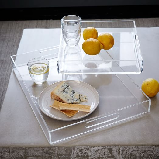 clear acrylic candy carrying tray with handle acrylic serving tray