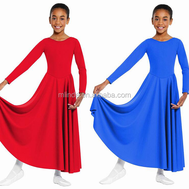 Modest Round Neckline Dancing Costume 100% Polyester Solid Pattern Elegant Children Girls Western Dance Dress For Girls