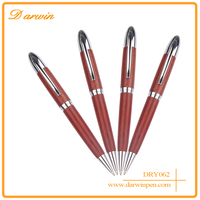 Free sample 2016 school supplies red wood and silver metal rose wooden pen